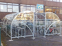 Arba - Curved Cycle Shelter with Gates